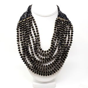 Natasha 8 Strand Faceted Black Beaded Necklace